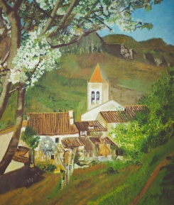 A painting of the pueblo